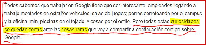 google primer parrafo
