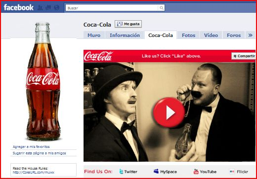 pagina facebook cocacola