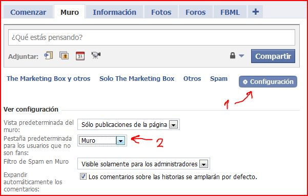 configuracion facebook