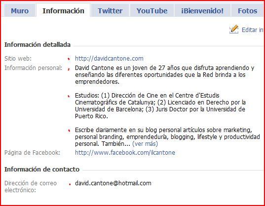 pestaña informacion facebook