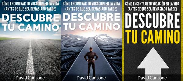 Tres portadas de prueba para el libro Descubre Tu Camino