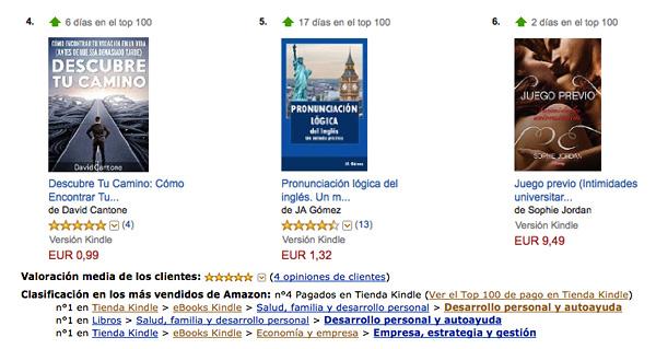 Libro Descubre Tu Camino en el puesto 4 de Amazon España