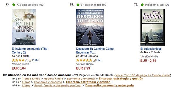 Libro Descubre Tu Camino lleva 37 días en el Top 100 de Amazon España